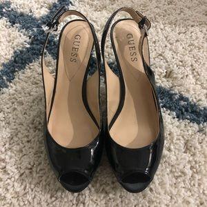 Guess Black Patent Leather Peep Toe Slingback Sz 8